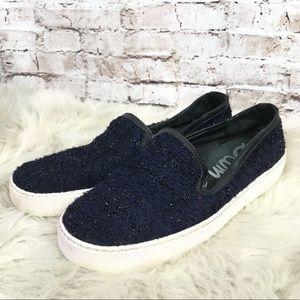Sam Edelman Navy Boucle Slip On Sneakers